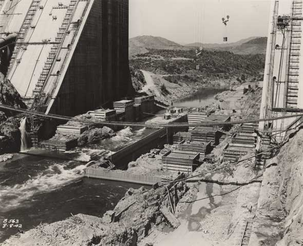 Shasta Dam Construction by Howard Colby c. 1940