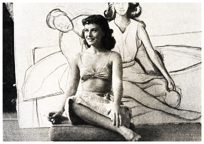 Oddly Etched Photo of Claudette Colbert and Drawing